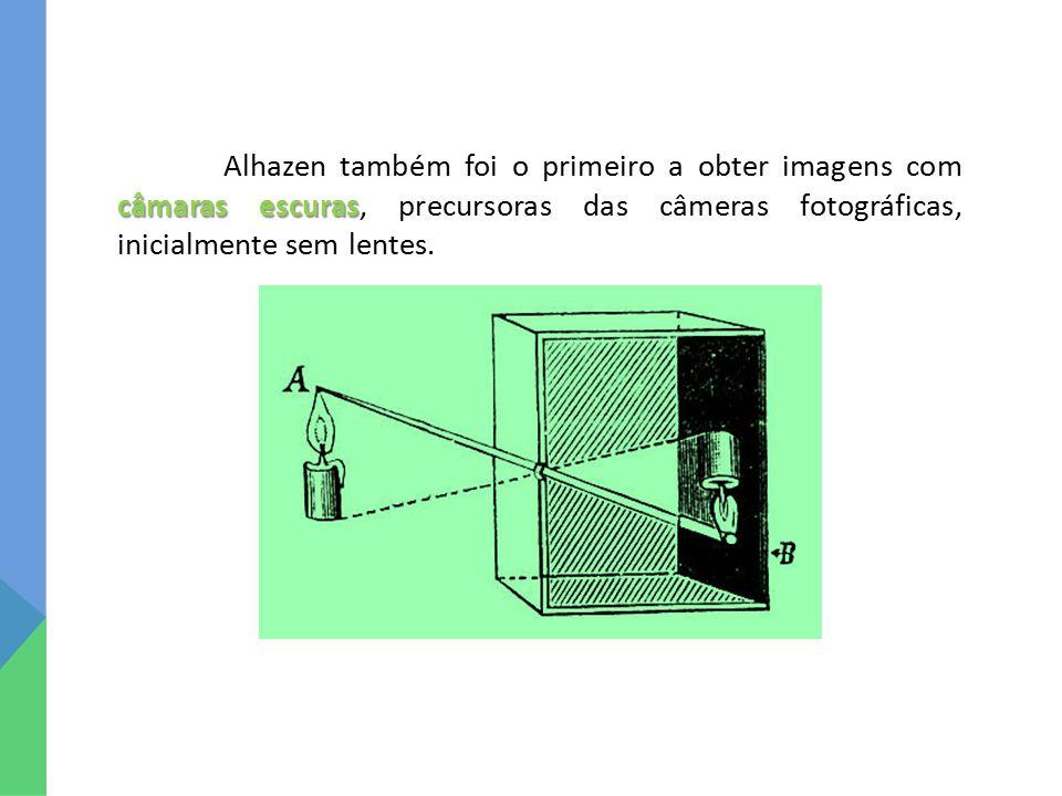 câmaras escuras Alhazen também foi o primeiro a obter imagens com câmaras escuras, precursoras das câmeras fotográficas, inicialmente sem lentes.