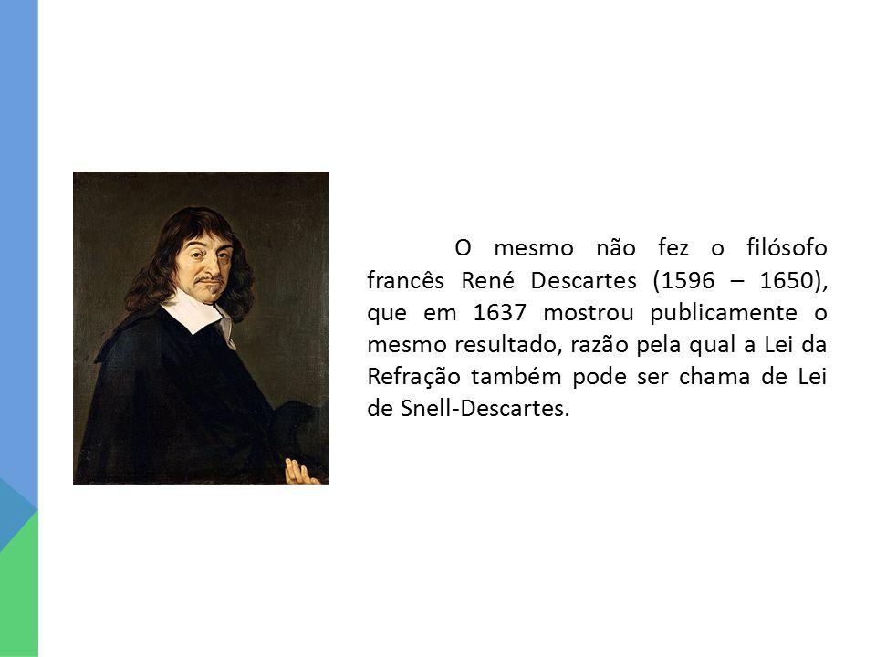 O mesmo não fez o filósofo francês René Descartes (1596 – 1650), que em 1637 mostrou publicamente o mesmo resultado, razão pela qual a Lei da Refração