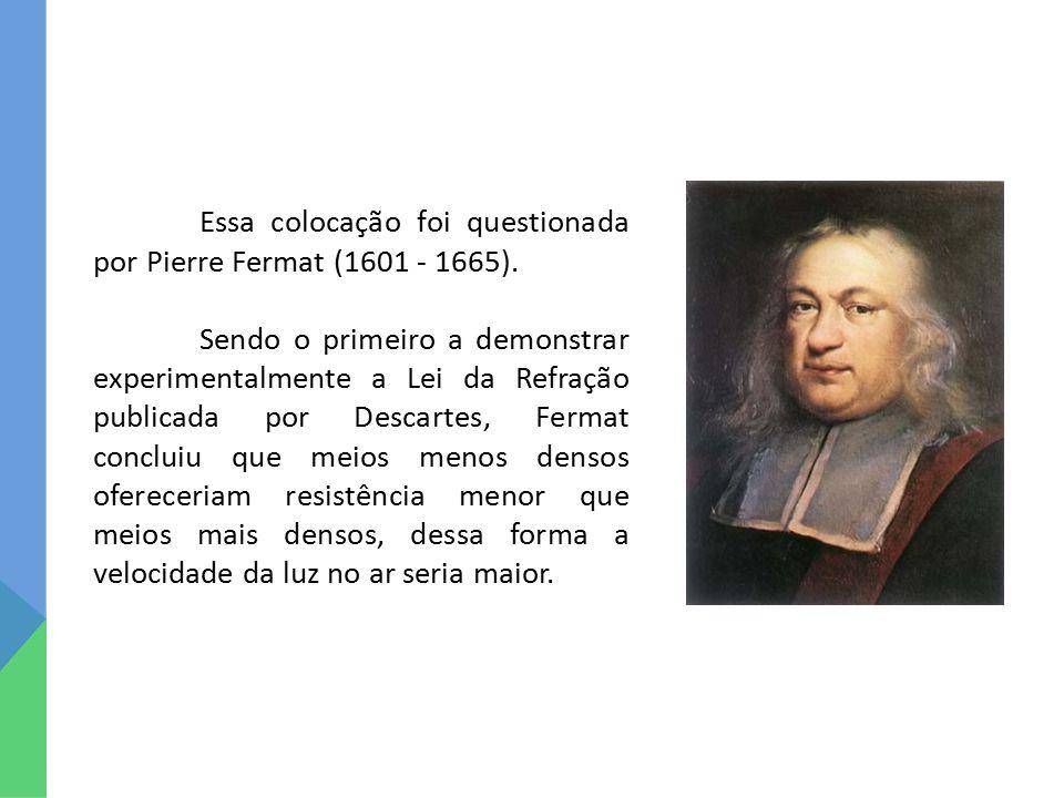 Essa colocação foi questionada por Pierre Fermat (1601 - 1665). Sendo o primeiro a demonstrar experimentalmente a Lei da Refração publicada por Descar