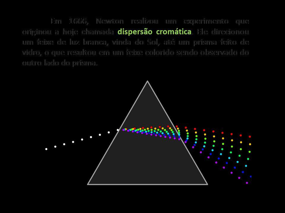 dispersão cromática Em 1666, Newton realizou um experimento que originou a hoje chamada dispersão cromática. Ele direcionou um feixe de luz branca, vi