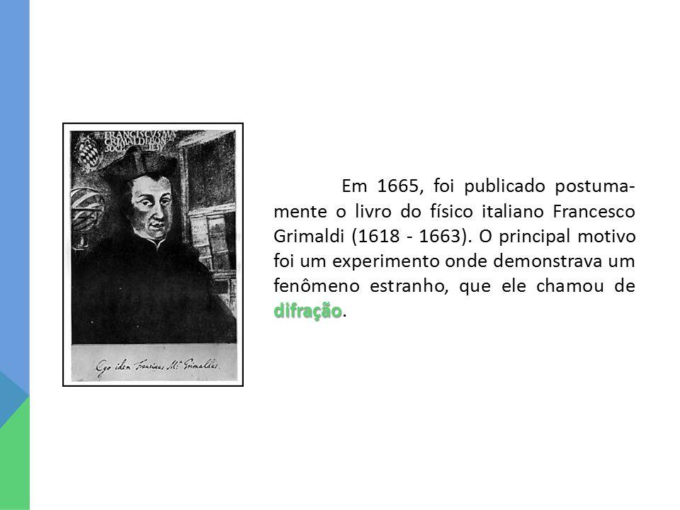difração Em 1665, foi publicado postuma- mente o livro do físico italiano Francesco Grimaldi (1618 - 1663). O principal motivo foi um experimento onde