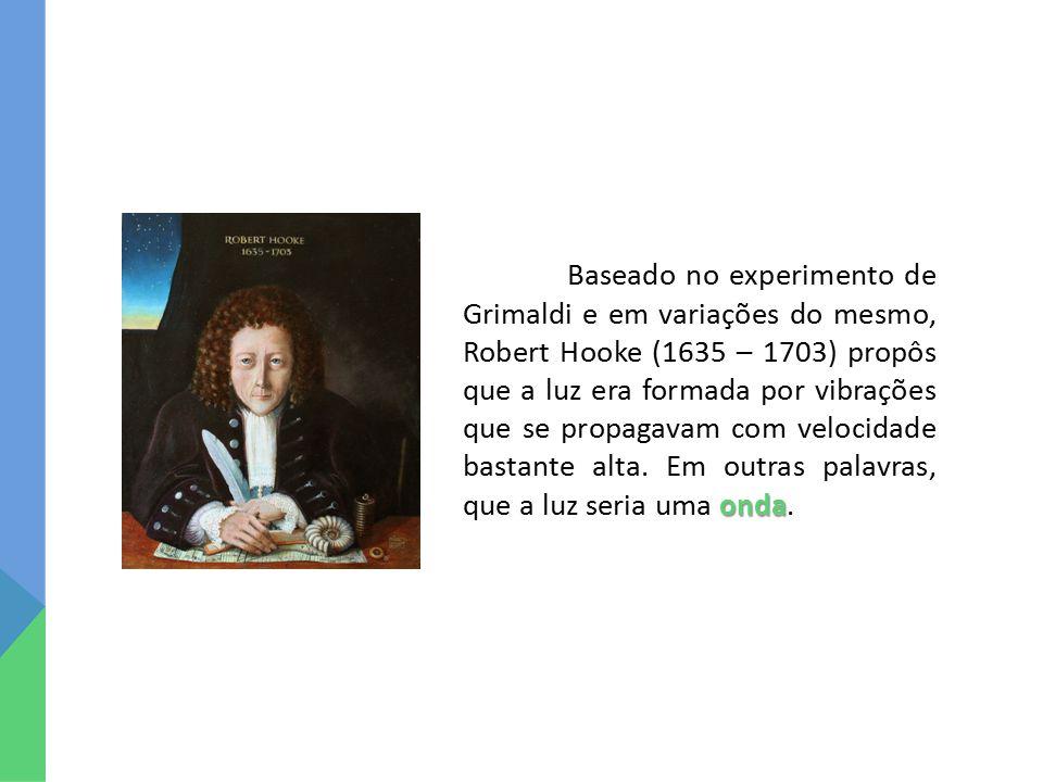 onda Baseado no experimento de Grimaldi e em variações do mesmo, Robert Hooke (1635 – 1703) propôs que a luz era formada por vibrações que se propagavam com velocidade bastante alta.