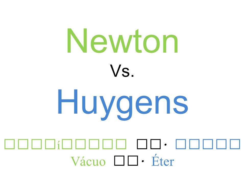 Newton Vs. Huygens Part í culas Vs. Ondas V á cuo Vs. Éter