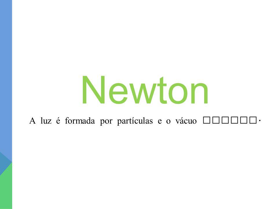 Newton A luz é formada por partículas e o v á cuo existe.
