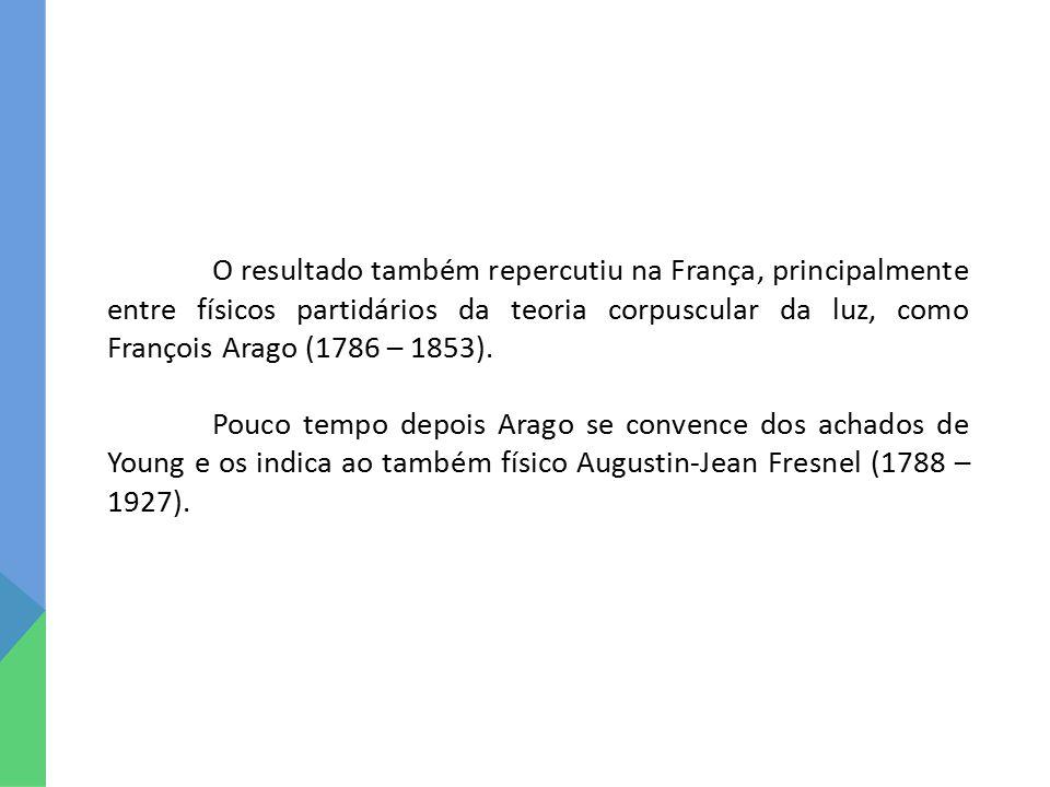 O resultado também repercutiu na França, principalmente entre físicos partidários da teoria corpuscular da luz, como François Arago (1786 – 1853). Pou