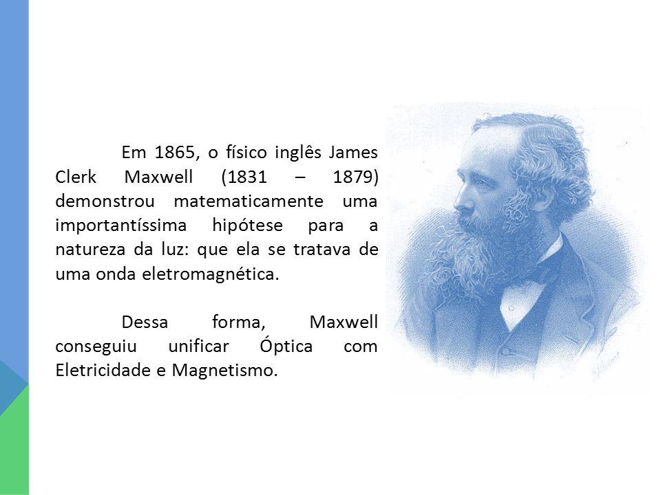 Em 1865, o físico inglês James Clerk Maxwell (1831 – 1879) demonstrou matematicamente uma importantíssima hipótese para a natureza da luz: que ela se