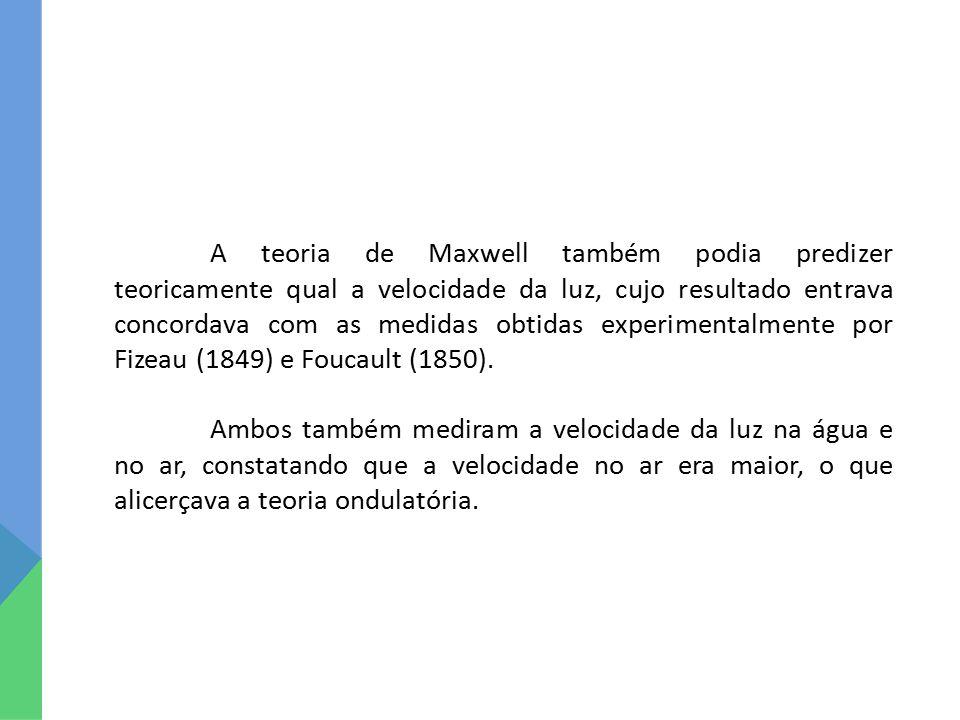 A teoria de Maxwell também podia predizer teoricamente qual a velocidade da luz, cujo resultado entrava concordava com as medidas obtidas experimental