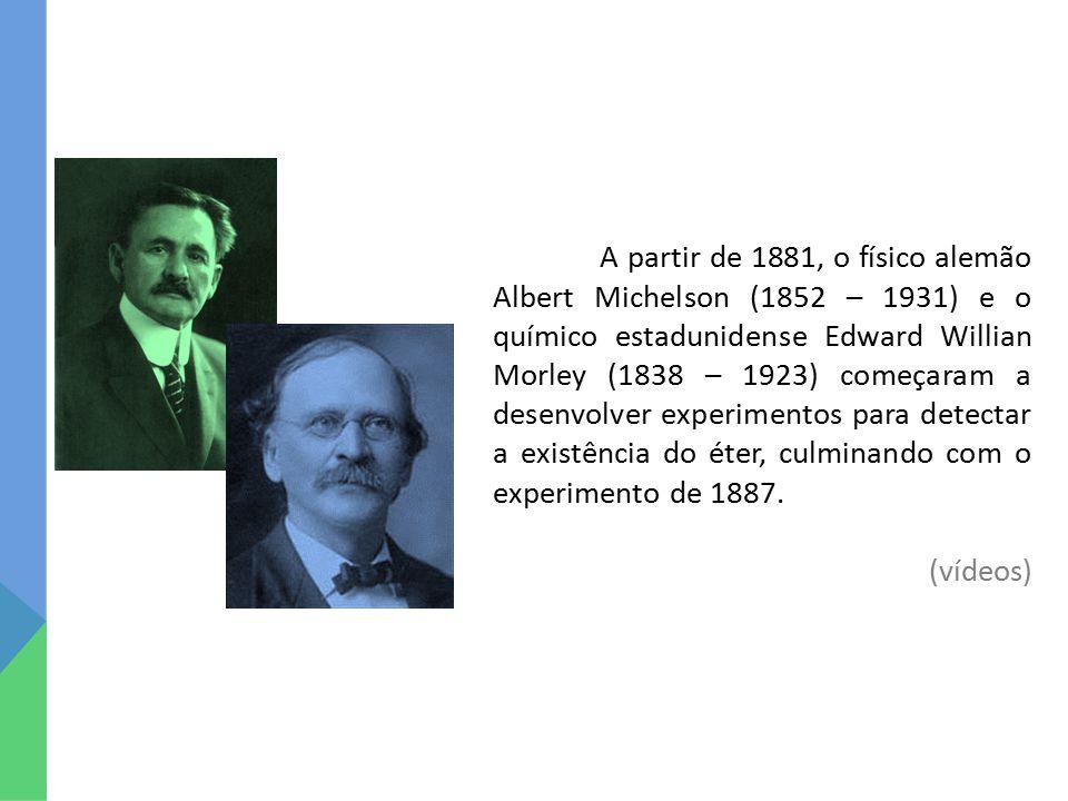 A partir de 1881, o físico alemão Albert Michelson (1852 – 1931) e o químico estadunidense Edward Willian Morley (1838 – 1923) começaram a desenvolver
