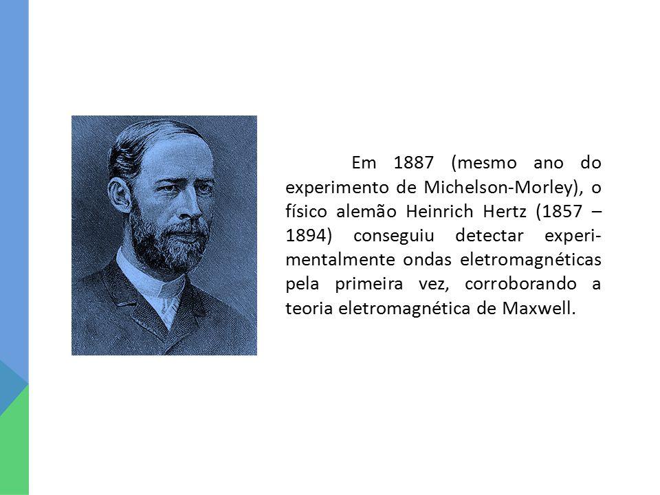 Em 1887 (mesmo ano do experimento de Michelson-Morley), o físico alemão Heinrich Hertz (1857 – 1894) conseguiu detectar experi- mentalmente ondas eletromagnéticas pela primeira vez, corroborando a teoria eletromagnética de Maxwell.