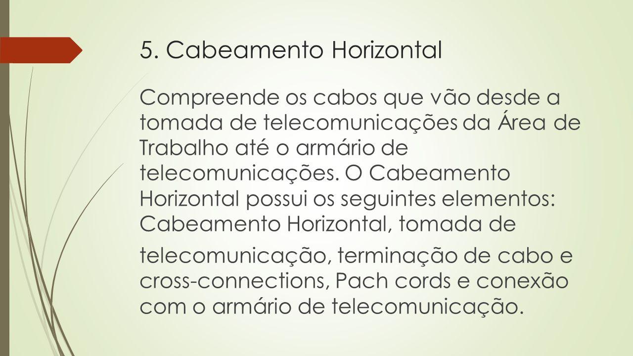 5. Cabeamento Horizontal Compreende os cabos que vão desde a tomada de telecomunicações da Área de Trabalho até o armário de telecomunicações. O Cabea