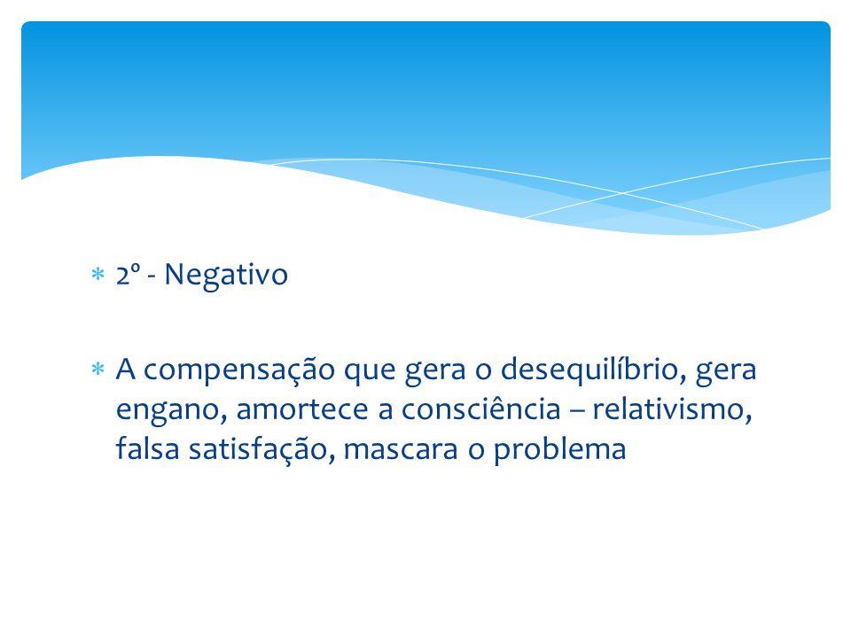  2º - Negativo  A compensação que gera o desequilíbrio, gera engano, amortece a consciência – relativismo, falsa satisfação, mascara o problema