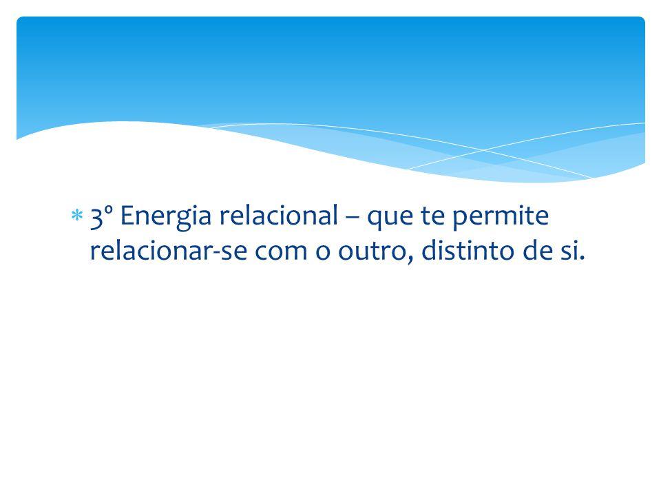  3º Energia relacional – que te permite relacionar-se com o outro, distinto de si.