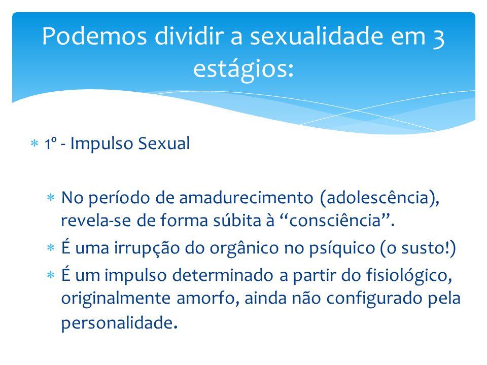  1º - Impulso Sexual  No período de amadurecimento (adolescência), revela-se de forma súbita à consciência .