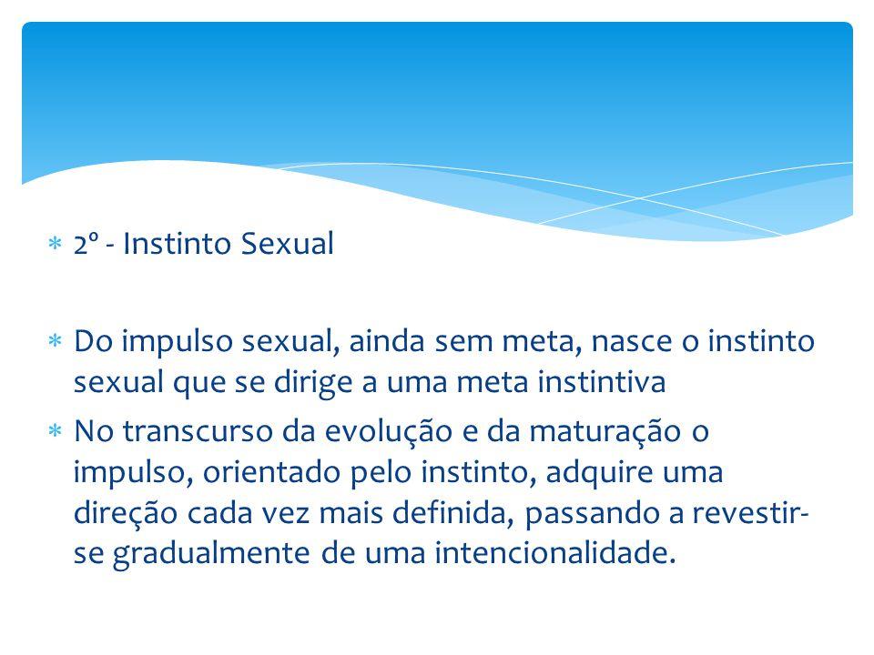  2º - Instinto Sexual  Do impulso sexual, ainda sem meta, nasce o instinto sexual que se dirige a uma meta instintiva  No transcurso da evolução e da maturação o impulso, orientado pelo instinto, adquire uma direção cada vez mais definida, passando a revestir- se gradualmente de uma intencionalidade.
