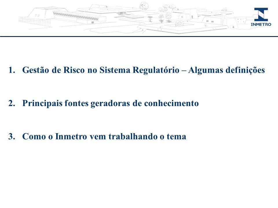 1.Gestão de Risco no Sistema Regulatório – Algumas definições 2.Principais fontes geradoras de conhecimento 3.Como o Inmetro vem trabalhando o tema