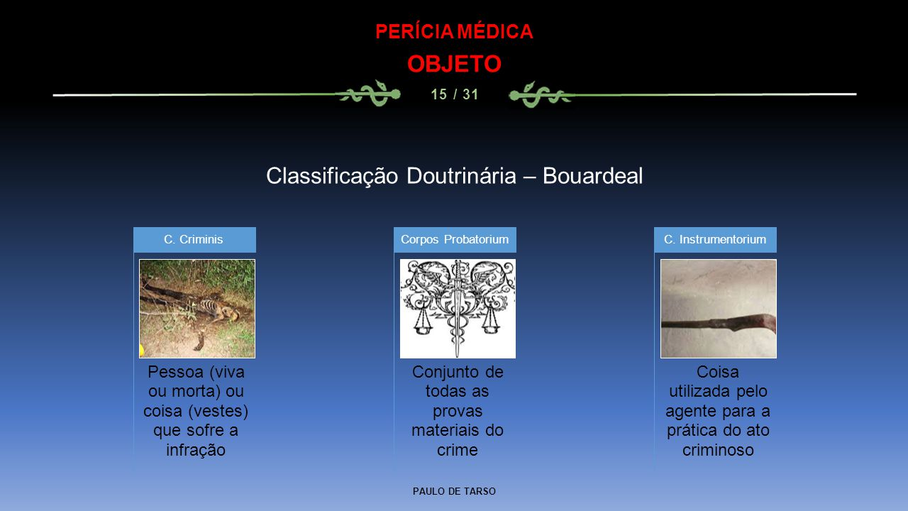 PAULO DE TARSO PERÍCIA MÉDICA OBJETO 15 / 31 Classificação Doutrinária – Bouardeal Pessoa (viva ou morta) ou coisa (vestes) que sofre a infração C. Cr