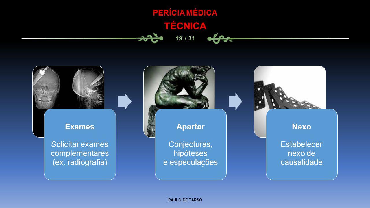 PAULO DE TARSO PERÍCIA MÉDICA TÉCNICA 19 / 31 Exames Solicitar exames complementares (ex. radiografia) Apartar Conjecturas, hipóteses e especulações N
