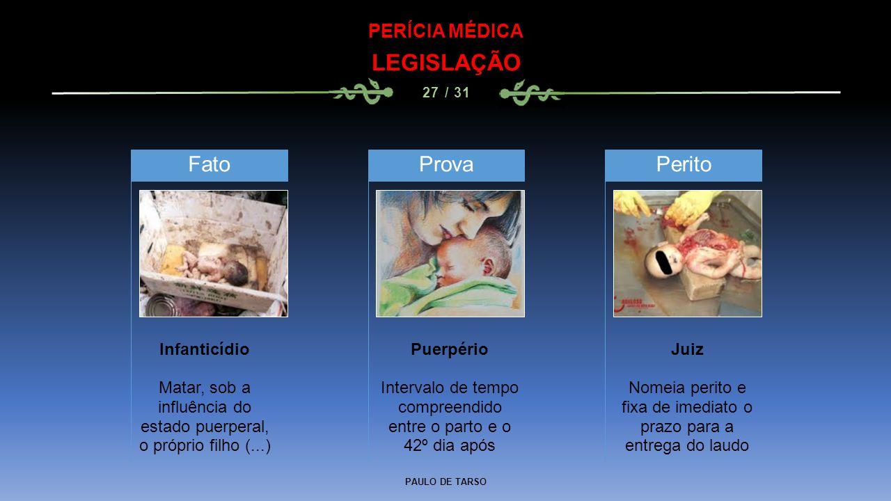 PAULO DE TARSO PERÍCIA MÉDICA LEGISLAÇÃO 27 / 31 Infanticídio Matar, sob a influência do estado puerperal, o próprio filho (...) Fato Puerpério Interv