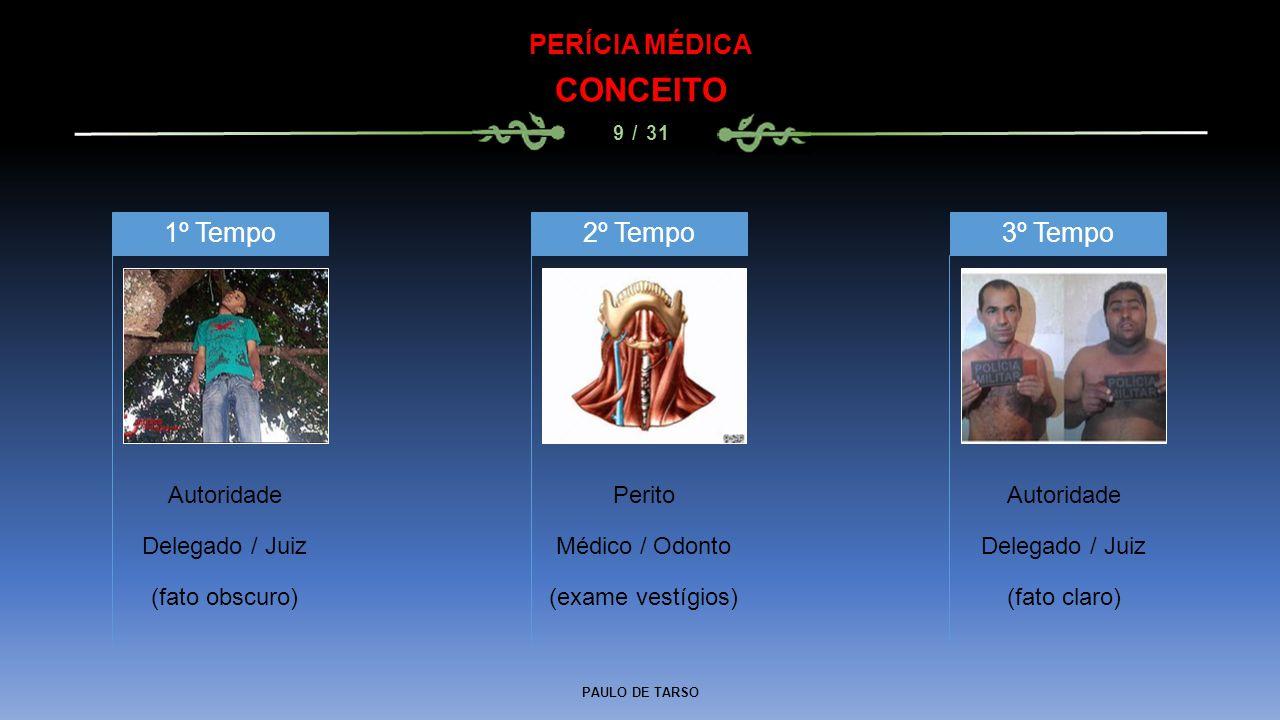 PAULO DE TARSO PERÍCIA MÉDICA CONCEITO 9 / 31 Autoridade Delegado / Juiz (fato obscuro) 1º Tempo Perito Médico / Odonto (exame vestígios) 2º Tempo Aut