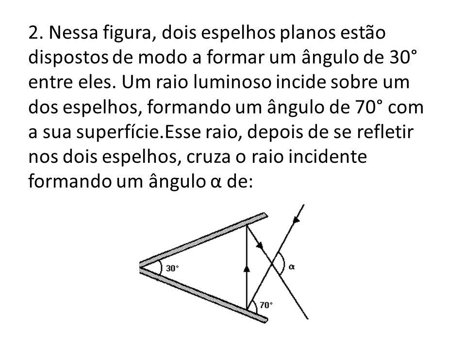2.Nessa figura, dois espelhos planos estão dispostos de modo a formar um ângulo de 30° entre eles.