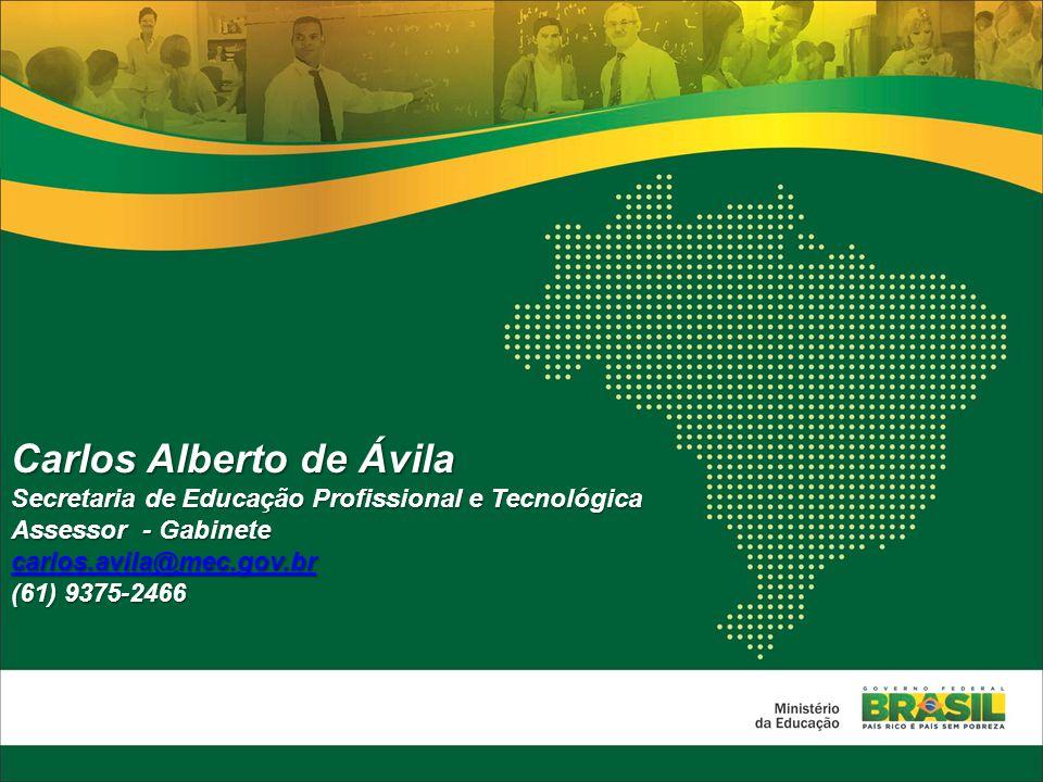 Carlos Alberto de Ávila Secretaria de Educação Profissional e Tecnológica Assessor - Gabinete carlos.avila@mec.gov.br (61) 9375-2466