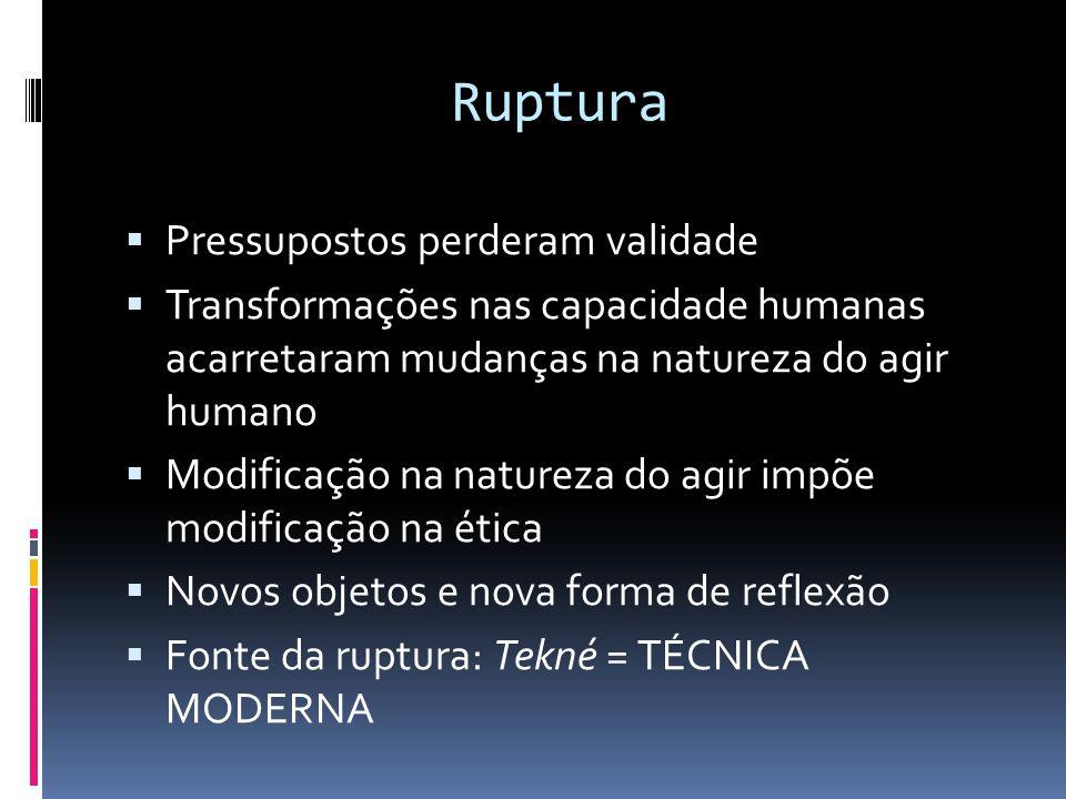 Ruptura  Pressupostos perderam validade  Transformações nas capacidade humanas acarretaram mudanças na natureza do agir humano  Modificação na natu