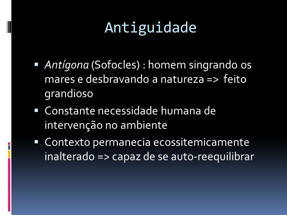 Antiguidade  Antígona (Sofocles) : homem singrando os mares e desbravando a natureza => feito grandioso  Constante necessidade humana de intervenção