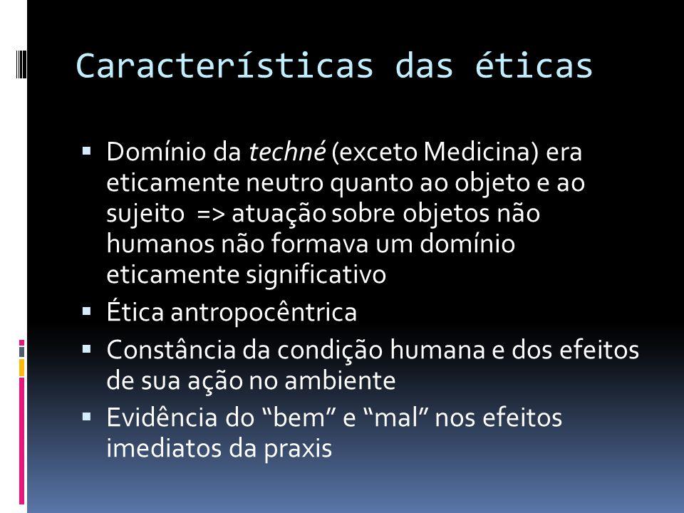 Características das éticas  Domínio da techné (exceto Medicina) era eticamente neutro quanto ao objeto e ao sujeito => atuação sobre objetos não huma