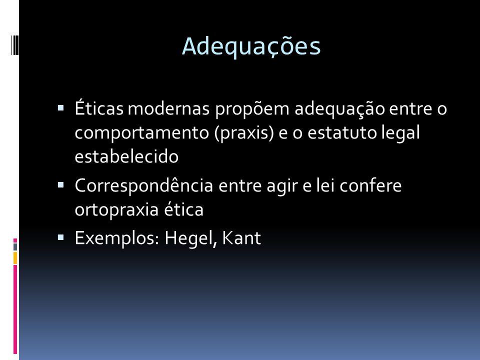 Adequações  Éticas modernas propõem adequação entre o comportamento (praxis) e o estatuto legal estabelecido  Correspondência entre agir e lei confe