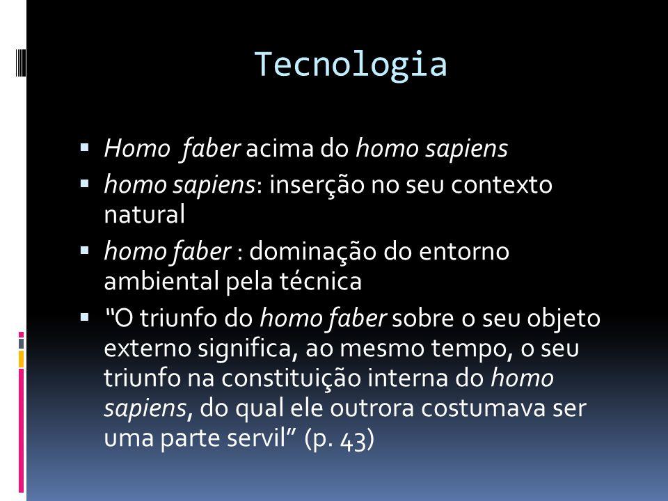 Tecnologia  Homo faber acima do homo sapiens  homo sapiens: inserção no seu contexto natural  homo faber : dominação do entorno ambiental pela técn