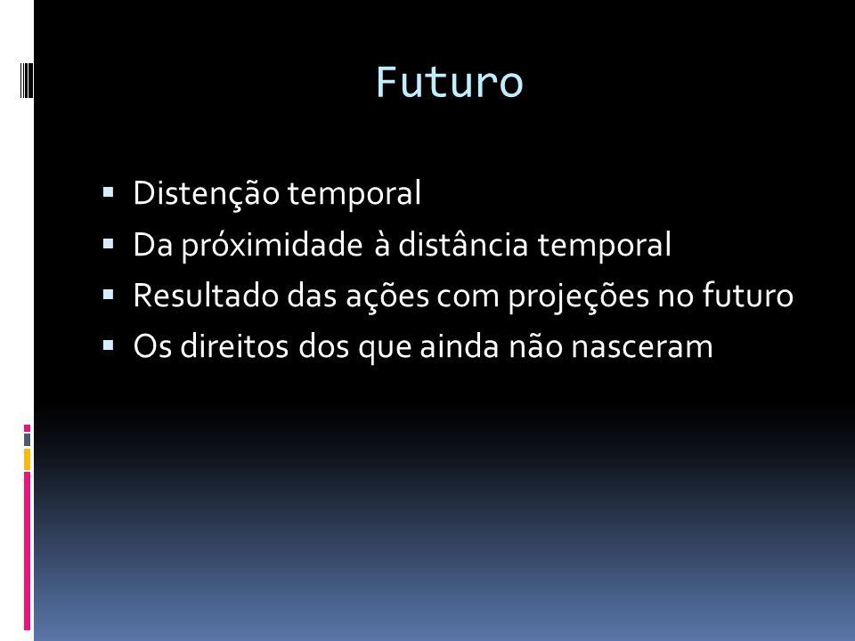 Futuro  Distenção temporal  Da próximidade à distância temporal  Resultado das ações com projeções no futuro  Os direitos dos que ainda não nascer