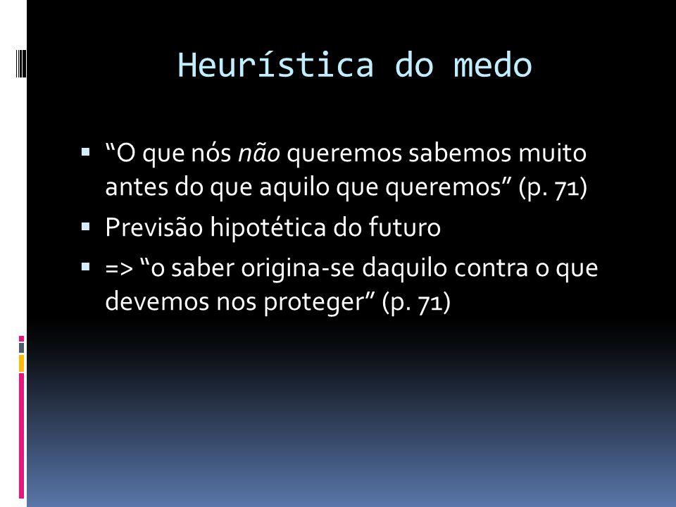 """Heurística do medo  """"O que nós não queremos sabemos muito antes do que aquilo que queremos"""" (p. 71)  Previsão hipotética do futuro  => """"o saber ori"""