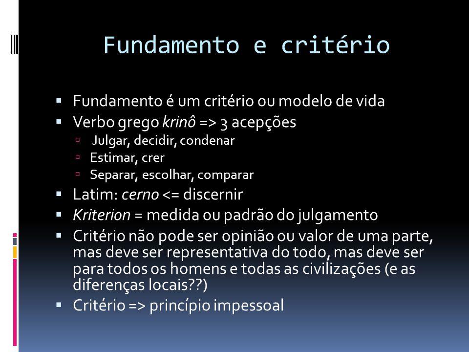  Fundamento é um critério ou modelo de vida  Verbo grego krinô => 3 acepções  Julgar, decidir, condenar  Estimar, crer  Separar, escolhar, compar