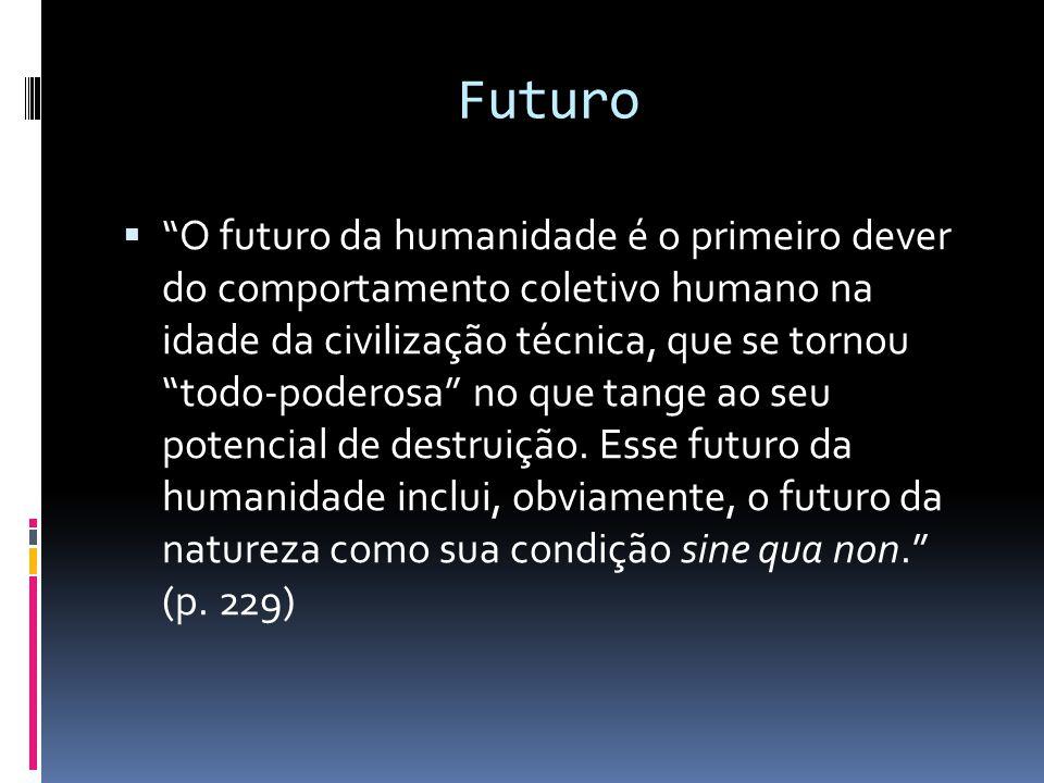 """Futuro  """"O futuro da humanidade é o primeiro dever do comportamento coletivo humano na idade da civilização técnica, que se tornou """"todo-poderosa"""" no"""