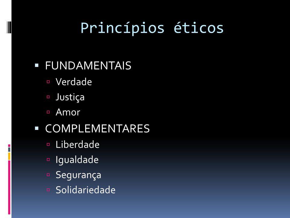  FUNDAMENTAIS  Verdade  Justiça  Amor  COMPLEMENTARES  Liberdade  Igualdade  Segurança  Solidariedade Princípios éticos