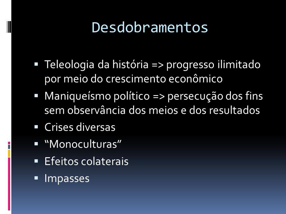  Teleologia da história => progresso ilimitado por meio do crescimento econômico  Maniqueísmo político => persecução dos fins sem observância dos me