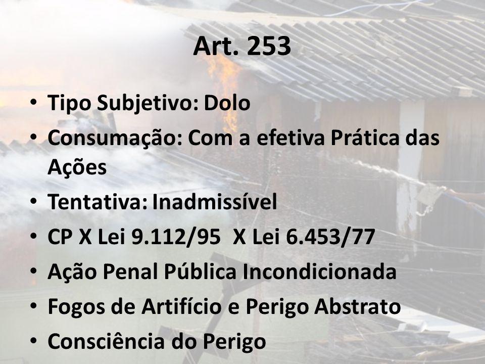 Art. 253 Tipo Subjetivo: Dolo Consumação: Com a efetiva Prática das Ações Tentativa: Inadmissível CP X Lei 9.112/95 X Lei 6.453/77 Ação Penal Pública