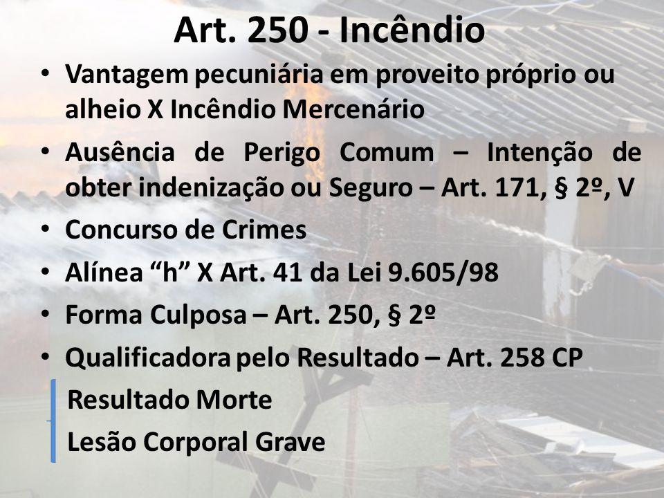 Art. 250 - Incêndio Vantagem pecuniária em proveito próprio ou alheio X Incêndio Mercenário Ausência de Perigo Comum – Intenção de obter indenização o