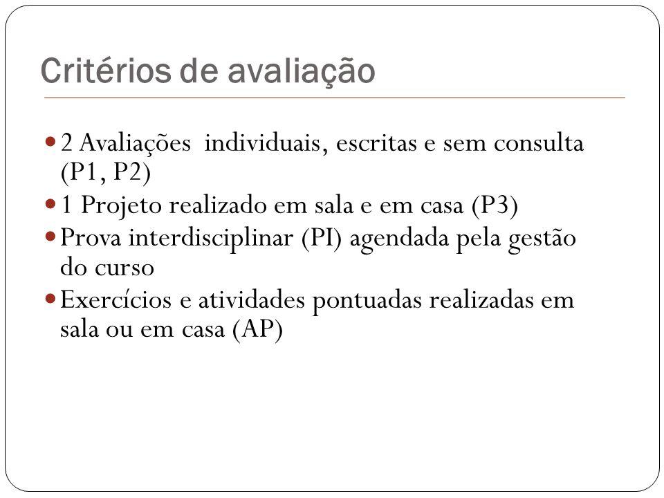 Critérios de avaliação 2 Avaliações individuais, escritas e sem consulta (P1, P2) 1 Projeto realizado em sala e em casa (P3) Prova interdisciplinar (P