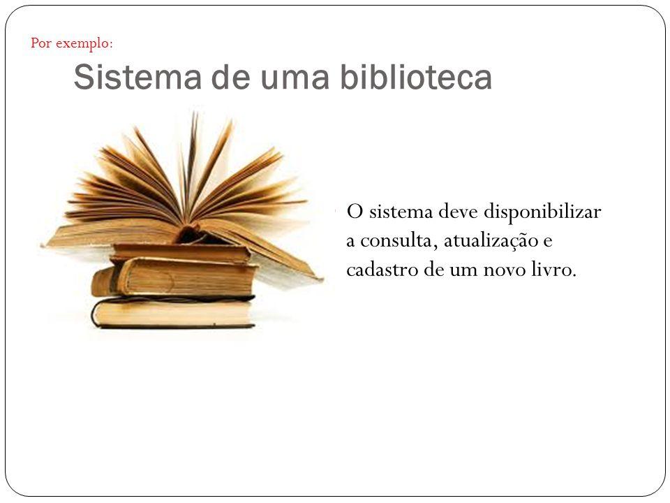 Sistema de uma biblioteca O sistema deve disponibilizar a consulta, atualização e cadastro de um novo livro. Por exemplo: