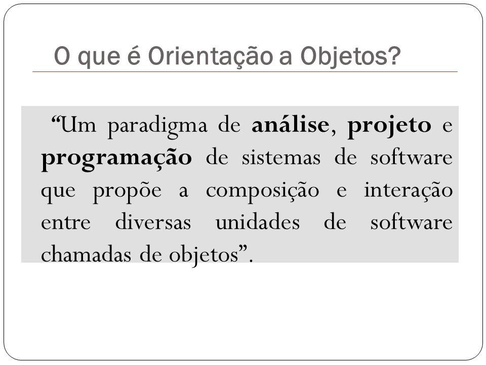 """O que é Orientação a Objetos? """"Um paradigma de análise, projeto e programação de sistemas de software que propõe a composição e interação entre divers"""