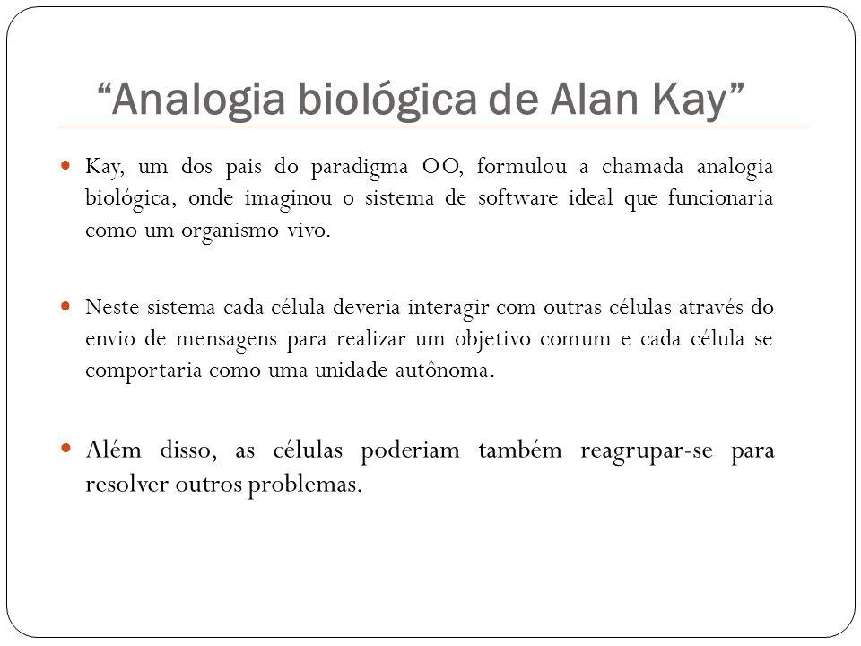 Kay, um dos pais do paradigma OO, formulou a chamada analogia biológica, onde imaginou o sistema de software ideal que funcionaria como um organismo v