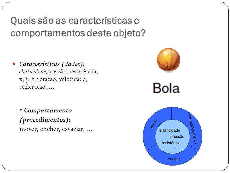 Quais são as características e comportamentos deste objeto? Características (dados): elasticidade, pressão, resistência, x, y, z, rotacao, velocidade,