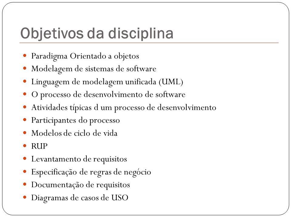 Objetivos da disciplina Paradigma Orientado a objetos Modelagem de sistemas de software Linguagem de modelagem unificada (UML) O processo de desenvolv