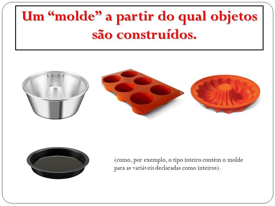 """Um """"molde"""" a partir do qual objetos são construídos. (como, por exemplo, o tipo inteiro contém o molde para as variáveis declaradas como inteiros)."""