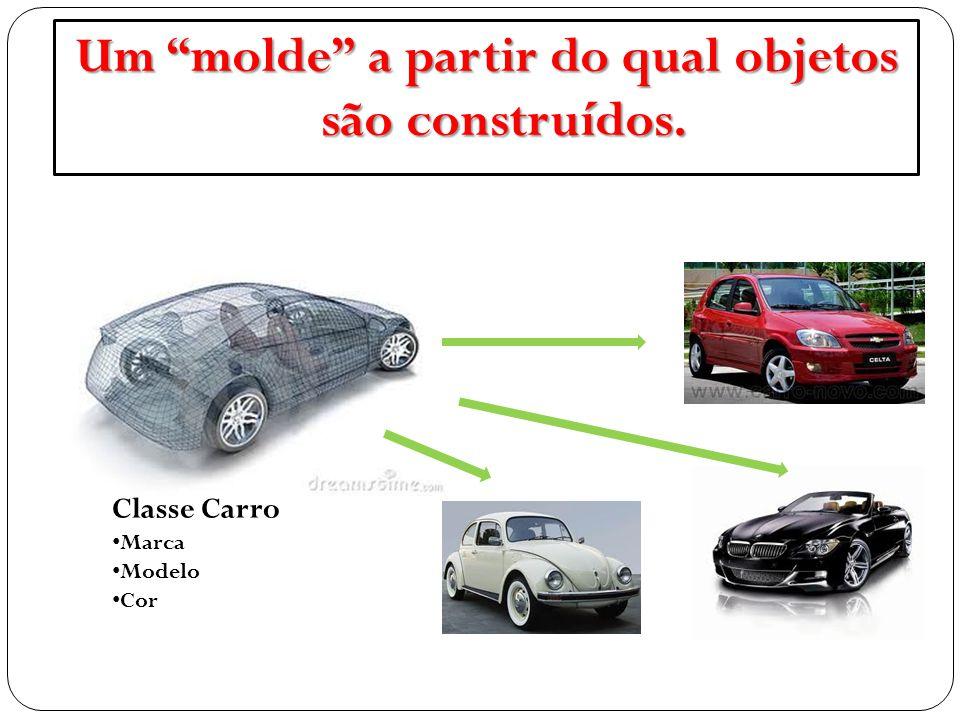 """Classe Carro Marca Modelo Cor Um """"molde"""" a partir do qual objetos são construídos."""