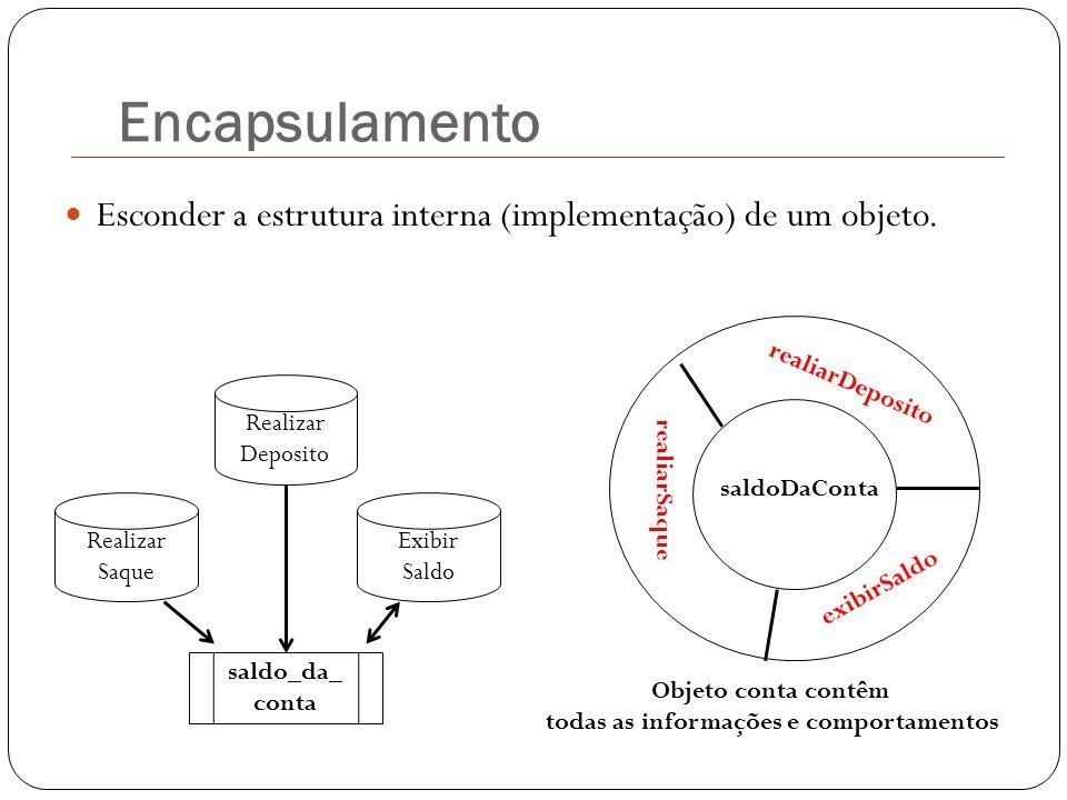 Encapsulamento Esconder a estrutura interna (implementação) de um objeto. saldoDaConta realiarDeposito realiarSaque exibirSaldo Realizar Saque saldo_d