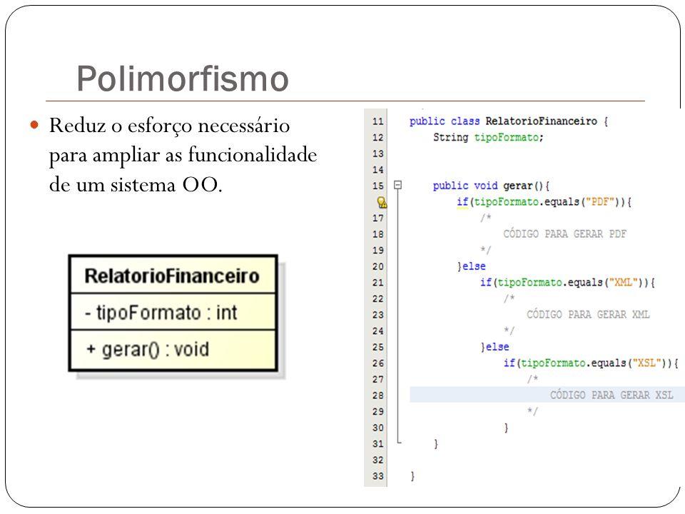 Polimorfismo Reduz o esforço necessário para ampliar as funcionalidade de um sistema OO.