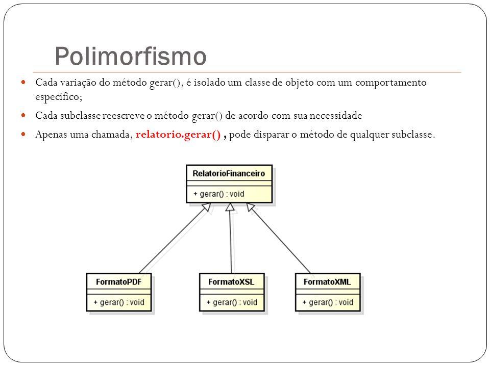 Polimorfismo Cada variação do método gerar(), é isolado um classe de objeto com um comportamento especifico; Cada subclasse reescreve o método gerar()
