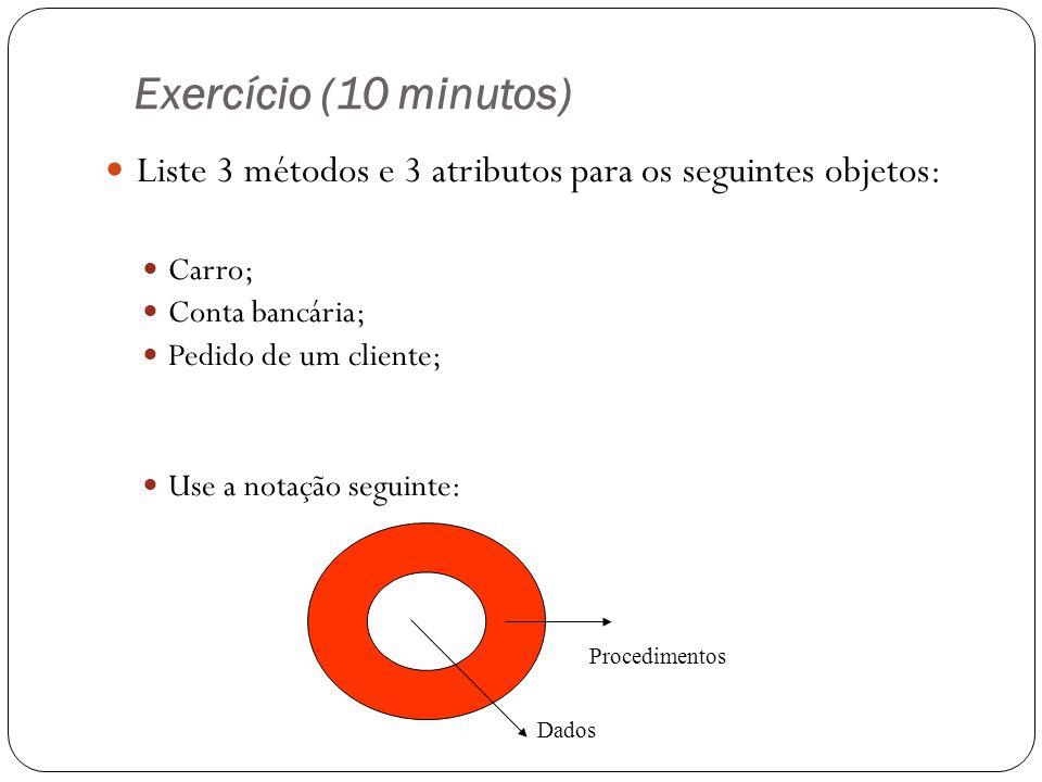 Exercício (10 minutos) Liste 3 métodos e 3 atributos para os seguintes objetos: Carro; Conta bancária; Pedido de um cliente; Use a notação seguinte: P